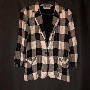 Vintage plaid thin basic jacket blazer